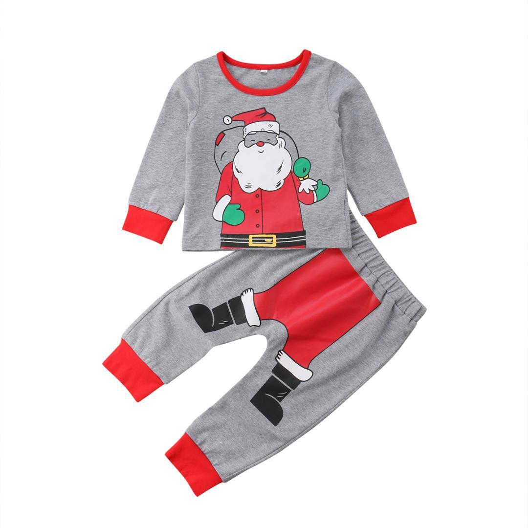 a116c0ece0 2019 Baby Kids Boys Girls Santa Claus Clothes Sets Christmas Cotton  Homewear Long Sleeve Sleepwear Casual Nightwear Pajamas 6M 5T Hot From  Rainbowny