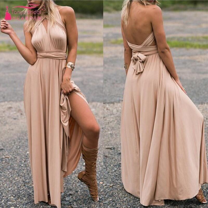 Variety Bridesmaid Dresses Bandage Dress Simple Style Long Wedding Guest Dress With Strech Dqg386 J190430