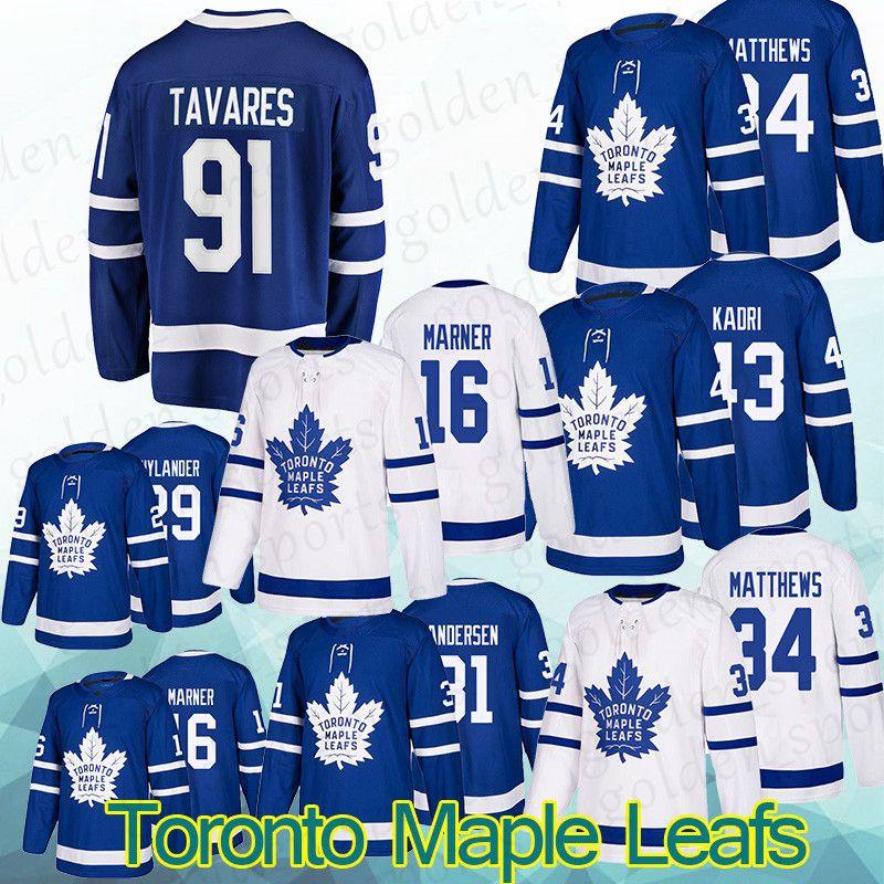 newest a121e a3694 Toronto Maple Leafs Jersey 34 Auston Matthews 31 Frederik Andersen 43 Nazem  Kadri 34 Auston Matthews 31 Frederik Andersen shirt Long sleeves