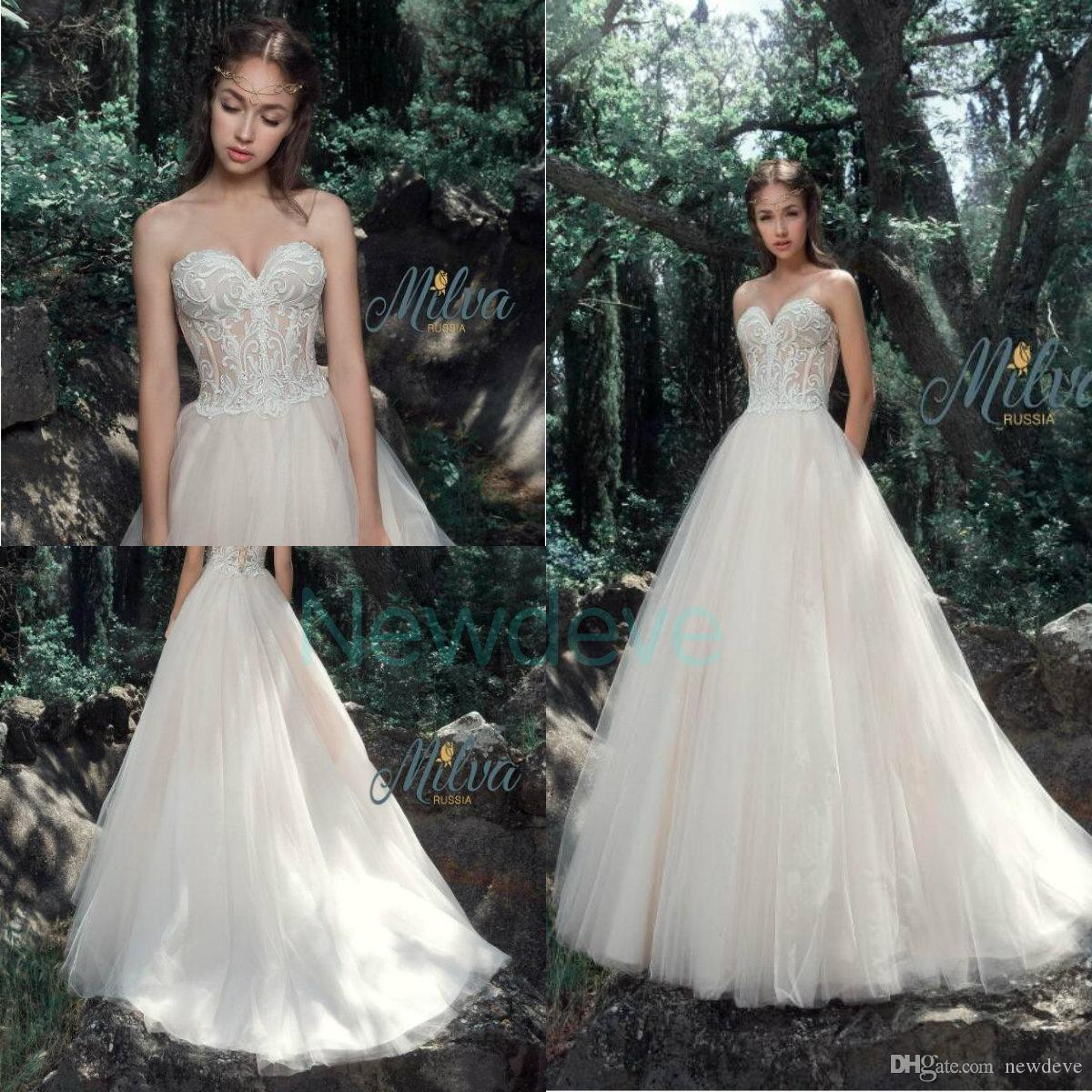 31ac77628f22 Discount Milva Bridal Wedding Dresses 2019 Hot Sexy Sweetheart Sleeveless  Backless Lace Country Bridal Gowns Plus Size Garden A Line Wedding Dress  Couture ...