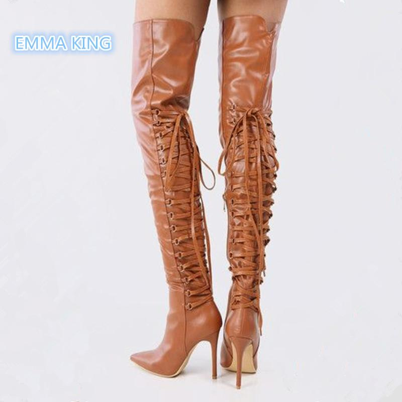e2d8747df43 Brown Leather Lace Up Sexy Long Boots Women Pointed Toe Stiletto High Heel  Knight Boots Back Cross-Tied Fashion Thigh High