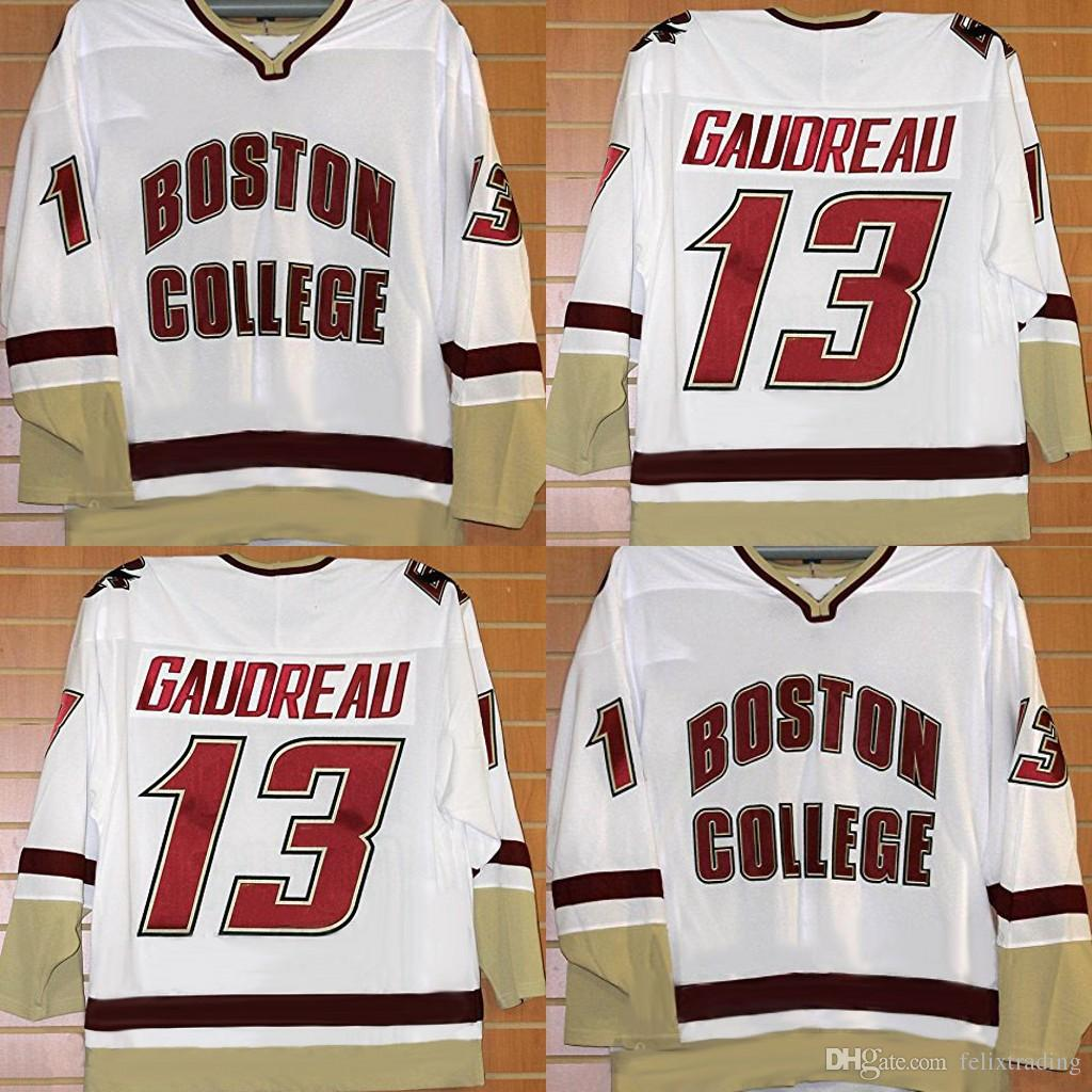 super popular aa9e1 b7614 13 Johnny Gaudreau Boston College Hockey Jerseys Flames All Stitched Men  Women Youth White Free Shipping