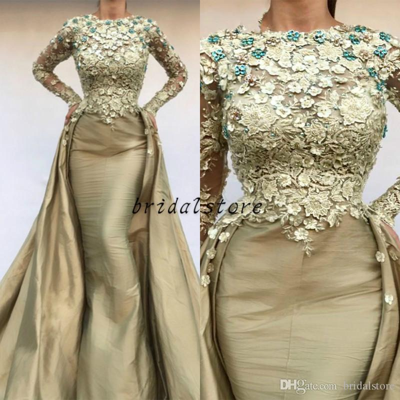 2d98cb81610 Gold Long Mermaid Prom Dress With Overskirt Long Sleeves Floral Lace  Applique Taffeta Evening Gowns Sexy Robe De Soiree Dubai Formal Wear Shop  Prom Dresses ...