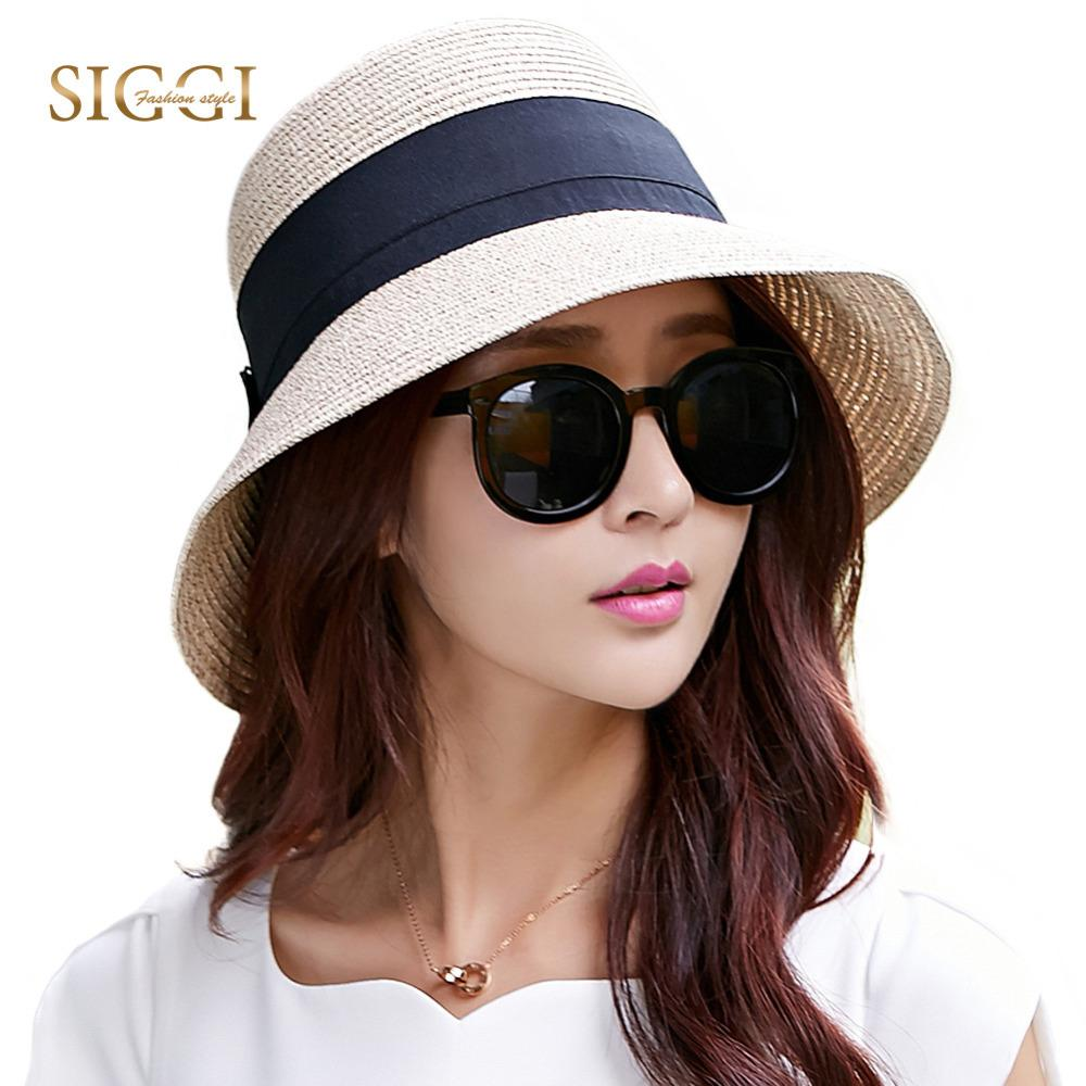 a2f5503dbf21 FANCET Women Summer Floppy Straw Sun Hat Wide Brim Packable UPF50+ ...