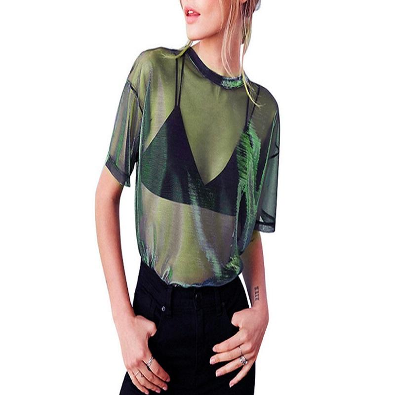 2019 Hot Women Summer Mesh Sheer Punk camiseta holográfica manga corta transparente brillante Club camiseta