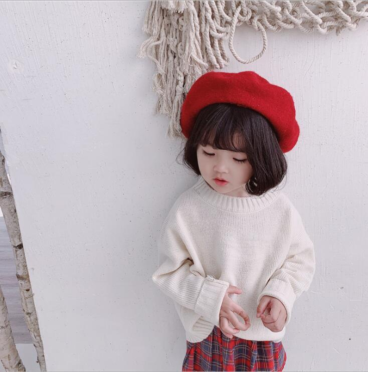 2019 new wholesale girls knitted sweater spring fashion girls pullover sweater 1-6t HF358