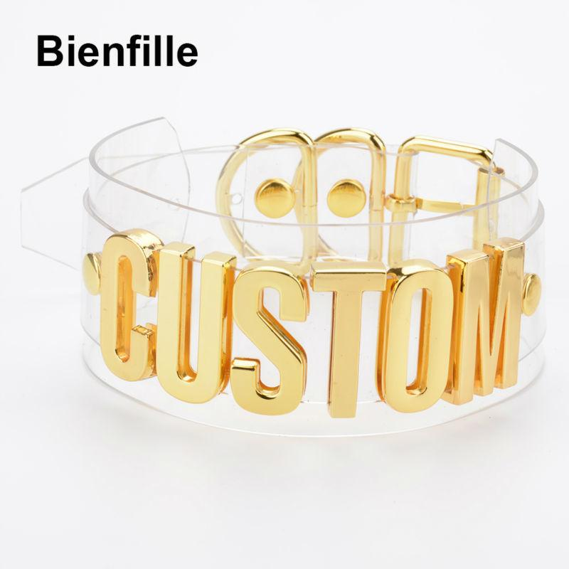 Customized Unique Letter Necklace Women Handmade Romantic Two Layer Wide Clear Pvc Vinyl Transparent Choker Sexy Collar Necklace J190625