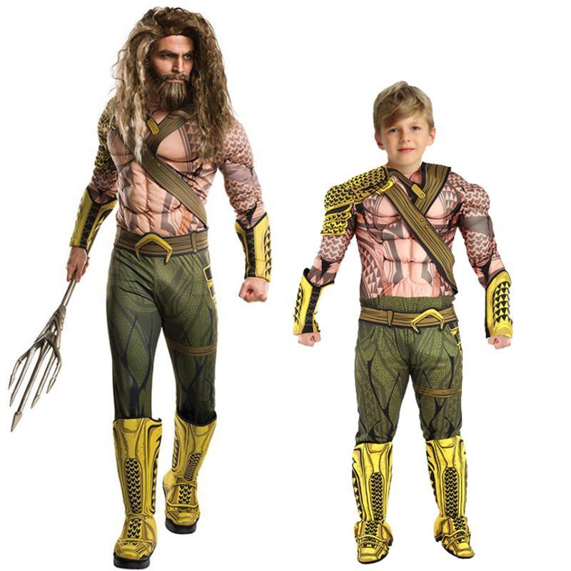 Kinderen Halloween.Aquaman Costumes Boys Muscle Costumes Kids Cosplay Verkleedkleding Kinderen Halloween Christmas Dress Up Streetwear