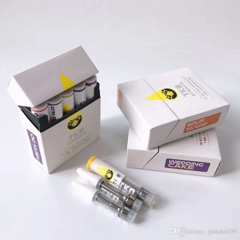 TKO Carts 0 8ml 1ml Ceramic Vaporizer TKO Extracts Vape Cartridges  Packaging For Thick Oil 510 Battery With 20 Flavors