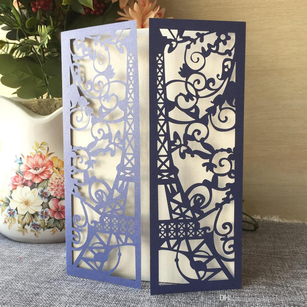 25PCS Wedding Invitation Card With Laser Cut Pearl Paper Traditional Tower Pattern Engagements Birthday Anything Events Invitation