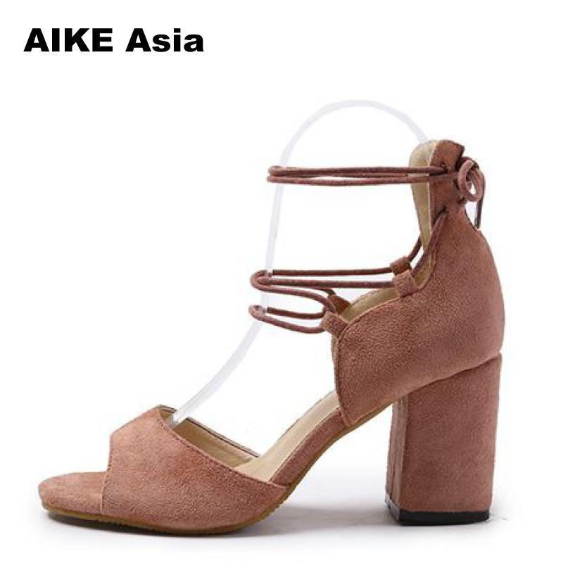 2aa2e5945fa07d Shoes Women Pumps Sexy High Heels Summer Suede Plus Size 35 42 Ladies Thick  Heel Ankle Strap Open Toe Peep Toe Gladiator Sandals Italian Shoes Summer  Shoes ...