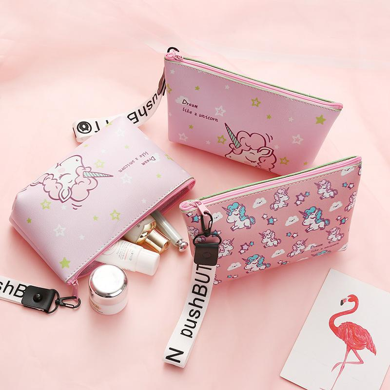 Fashion Unicorn Cosmetic Bag Travel Case Portable Waterproof Wash Makeup Bag Kids Pencil Case Student Pen Pouch Organizer Holder