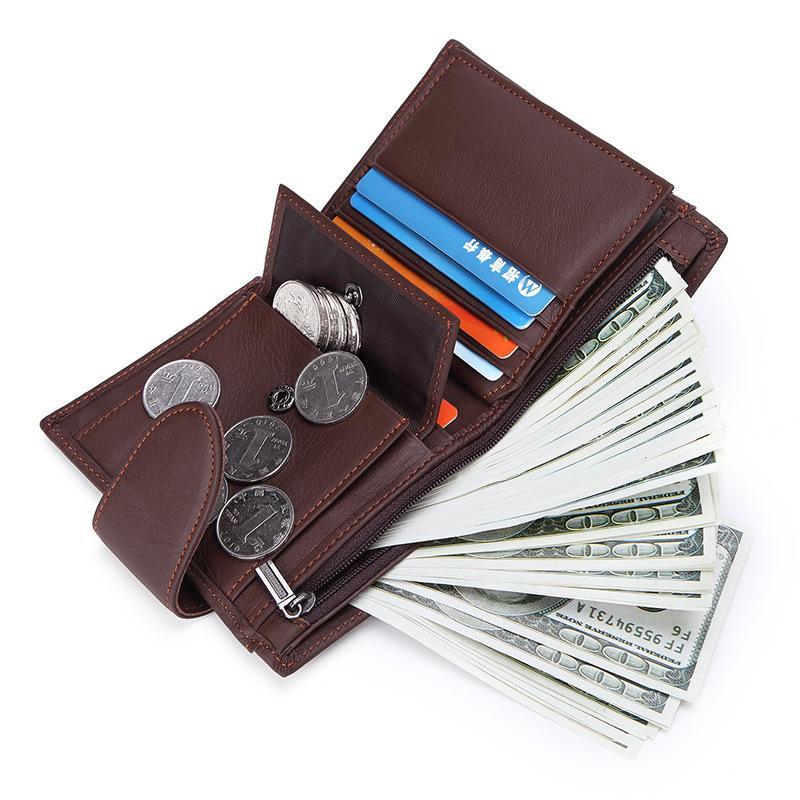 0396350080af37 2018 Genuine Leather Wallet Men Short Wallets Quality Business Zipper Coin  Purse Card Holder Carteira Masculina Miesten Lompakko Wallet Brands Girls  Wallets ...