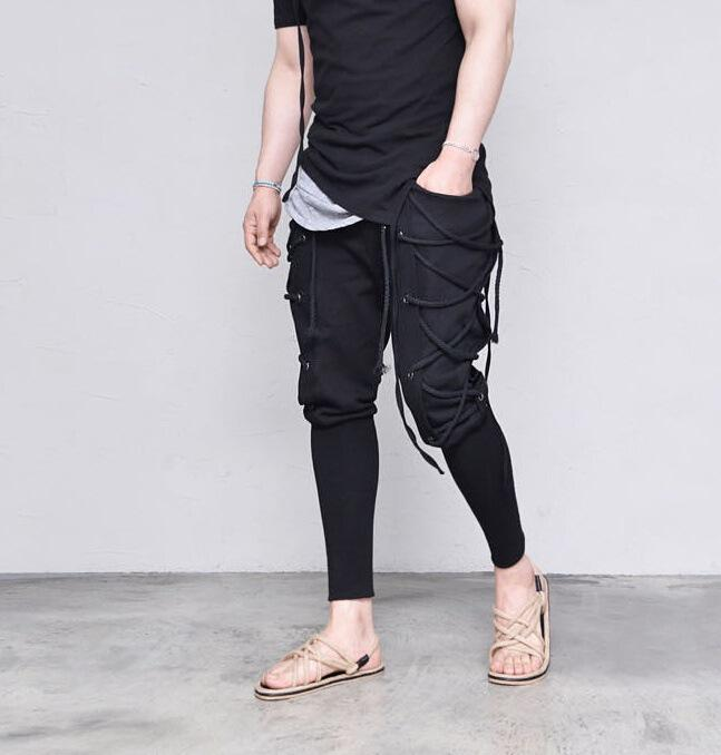2019 Sping FW New Bandage Black Cross Pants Ropa para hombre Casual Designer Jogger Hiphop Skateboard Pants