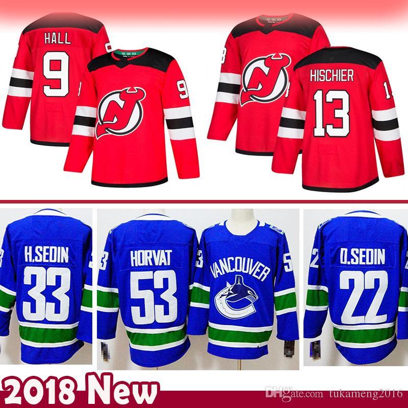 huge selection of 90ab2 cf115 9 Taylor Hall 13 Nico Hischier New Jersey Devils Hockey Jersey 33 Henrik  Sedin 22 Daniel Sedin 53 Bo Horvat Vancouver Canucks Jerseys