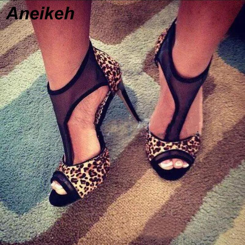 74b4b7423b7 Dress Aneikeh 2019 Summer Fashion New Women Leopard Print Sandals High  Heeled Peep Toe Ankle Gladiator Sandal Feminine Buckle Pumps Mens Slippers  Footwear ...
