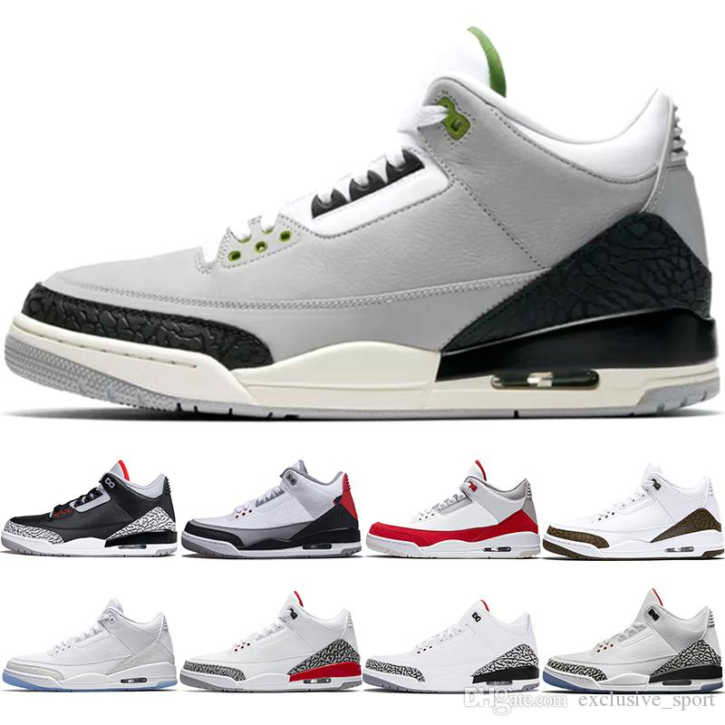 new product 817d2 4a72b Chlorophyll 3 Tinker 3s III Men Basketball Shoes Mocha Black Cement JTH NRG  Katrina Pure White Mens Sports Sneakers Size 41-47
