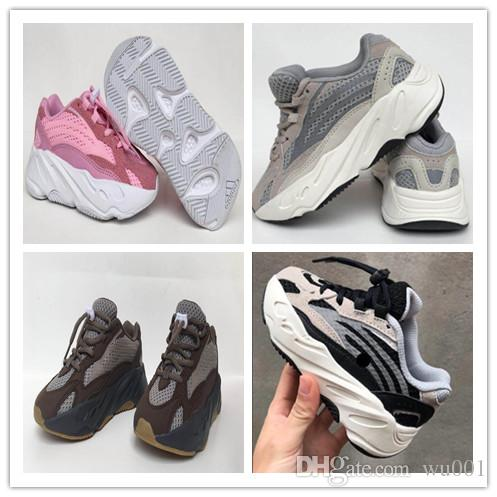 finest selection a2c66 a5a53 Adidas Yeezy Boost 700 V2 kid Running Shoes Kanye West 700s Wave Runner  Mauve Solid Grey Luxury Designer Shoes size 28-35