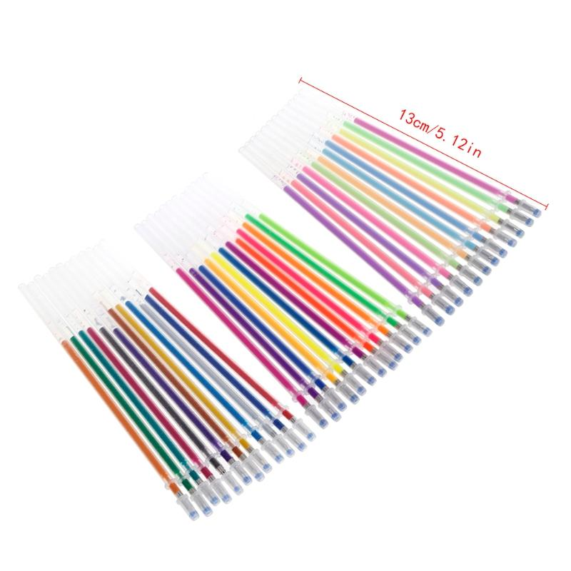 36Colors 0.38mm Gel Ink Pen Refills for Glitter Neon Pastel Stationery Supplies H7EC