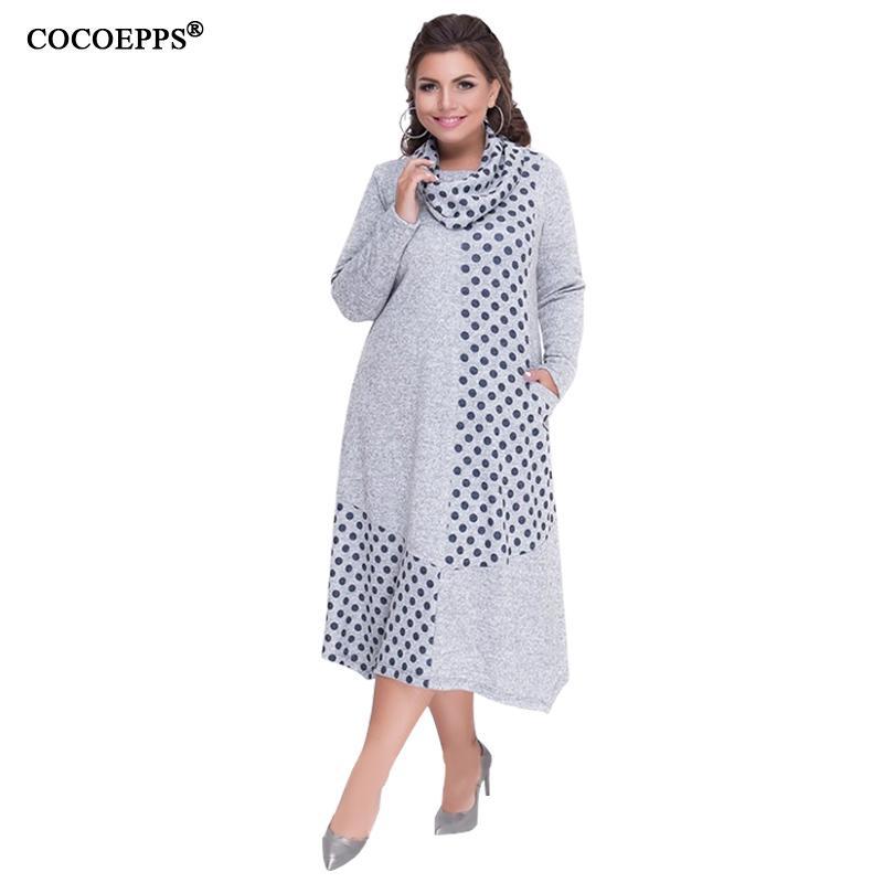 ca50418d38c4 Compre Cocoepps Plus Size Outono Mulheres Vestidos De Inverno 2019 Tamanho  Grande Solto Vestido Feminino Longo Grande Tamanho Vestido Mulheres Roupas  5xl ...