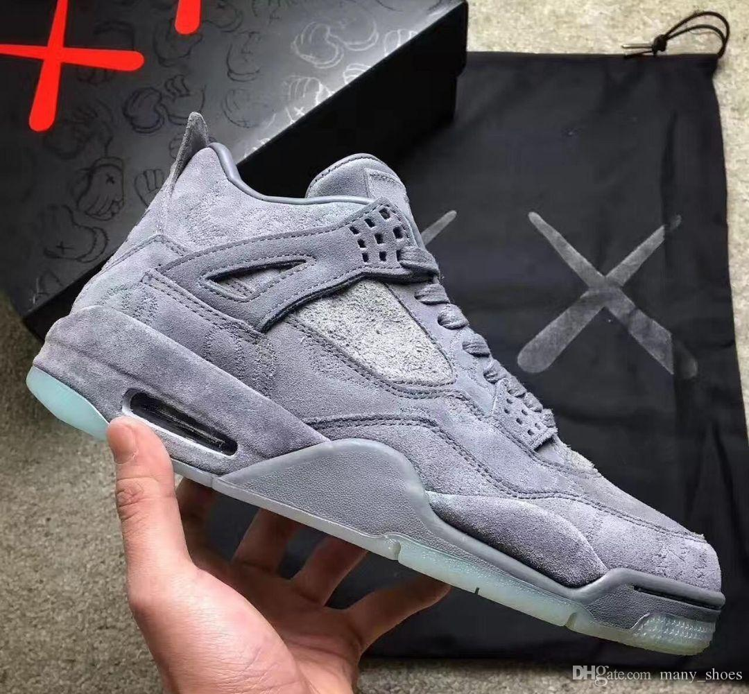 online store c0c73 e9117 2018 KAWS x 4 XX Kaws Cool Grey White black Glow Basketball Shoes Mens Best  Quality 4s White Blue black sports sneakers