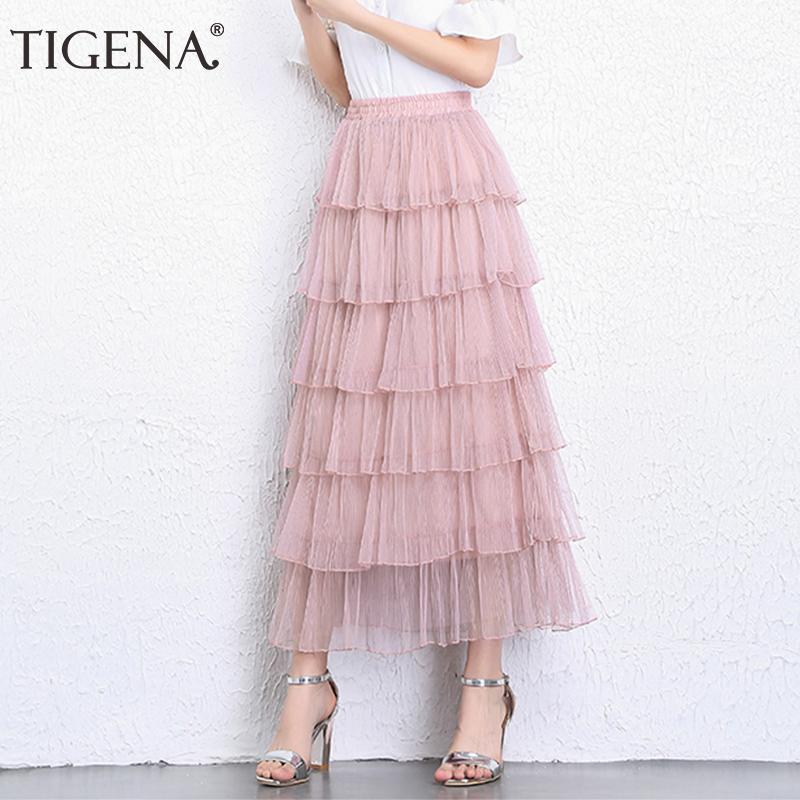online retailer 27862 4ad96 Tigena Lace Tüllrock Frauen 2019 Korean Fashion High Waist Elegante Lange  Maxi Rock Weibliche Schwarz Rosa Mesh Stufenrock Mädchen Y19050602