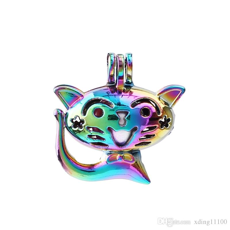Rainbow Color Lovely Sitting Cat Pearl Cage Pendant Lava Bead Cage Diffuser Lockets for Oyster Akoya Pearl Jewelry Making