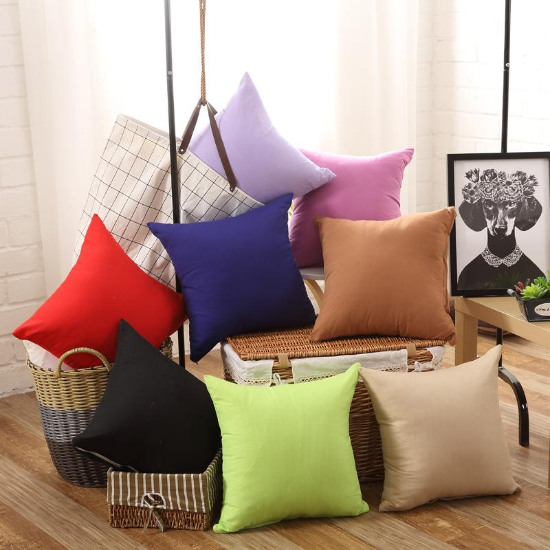 1pc Solid Color Simple Candy Color Cushion Cover Throw Pillowcase Car Sofa Seat Pillow Cover Outdoor Chair Waist Cushions Case Pillow Case