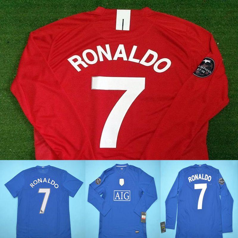 the latest 806f9 903a2 Soccer Jersey 08 09 Ronaldo Jersey Man Berbatov Rooney Giggs 2008 2009 Long  Sleeve J.S.Park Nani Scholes Football United UTD Jersey Kits Set