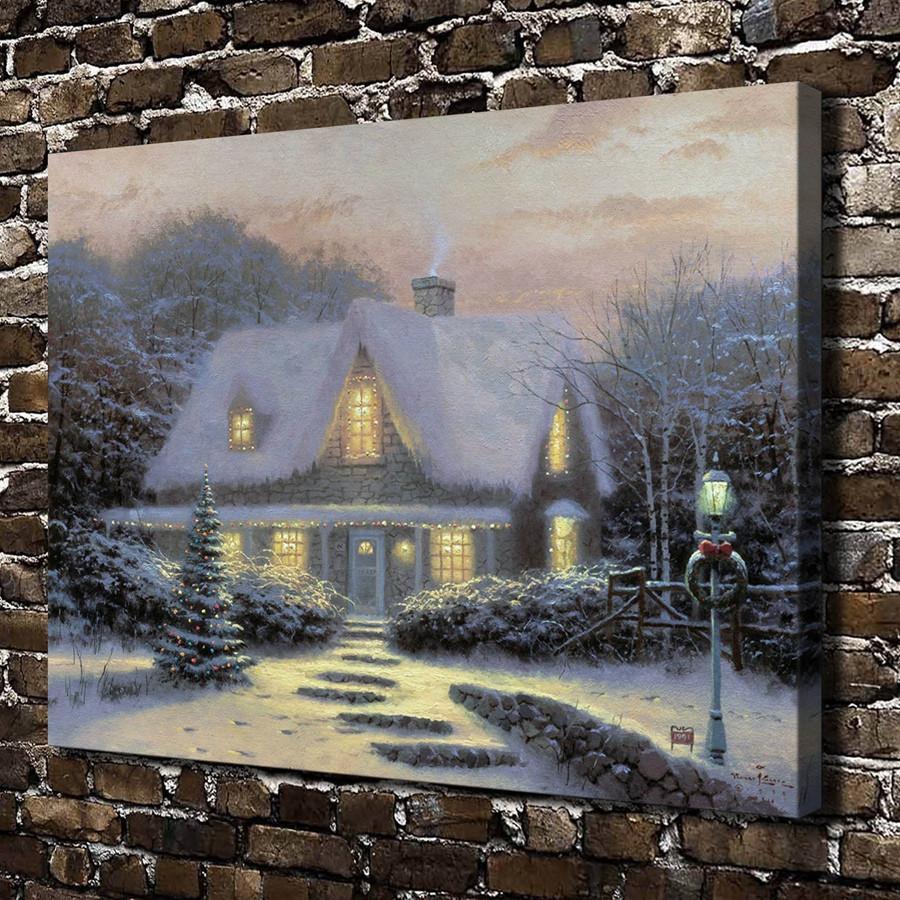 2018 Thomas Kinkade Christmas Eve,Canvas Prints Wall Art Oil ...