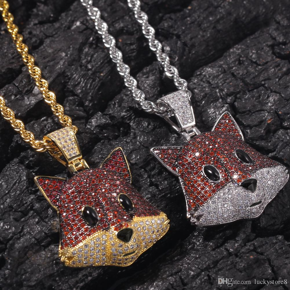 Hiphop Fox Head Necklace For Men Brand Designer Gold Jewelry Ice Out Cubic Zirconia Mens Hip Hop Pendant Necklaces