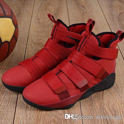 size 40 a5397 bc0d5 Mens lebron soldier 11 basketball shoes Easters BHM Christmas Team Red high  top Youth Kids lebrons soldiers sneakers boots with box