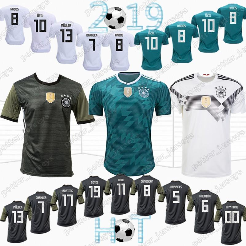 29379df3a 2019 HOT 13 MULLER Germany Soccer Shirt 10 OZIL 2018 World Cup Germany Away  Green Soccer Jersey 8 KROOS 5 HUMMELS 17 BOATEN Football Uniforms From ...