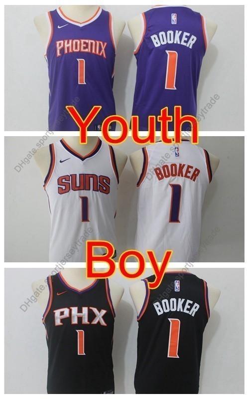 brand new 2e10b 86169 2019 Boys Phoenix #1 Suns Devin Booker Kids Basketball Jerseys Youth Devin  Booker New Black Purple White Top Quality Stitched Size S-XL
