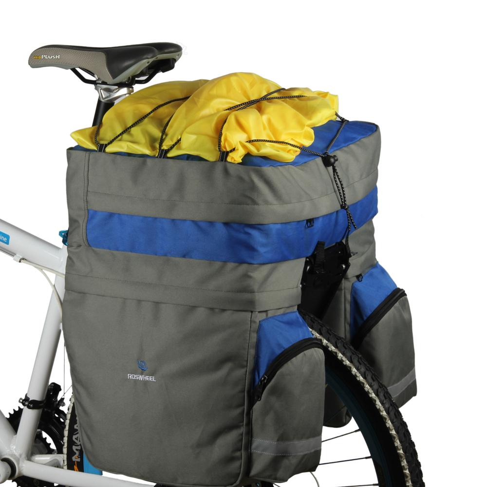Bicycle Carrier Bag 60l Rear Rack Trunk Bike Luggage Back Seat Pannier Two Bags Cycling Saddle Storage Rain Cover