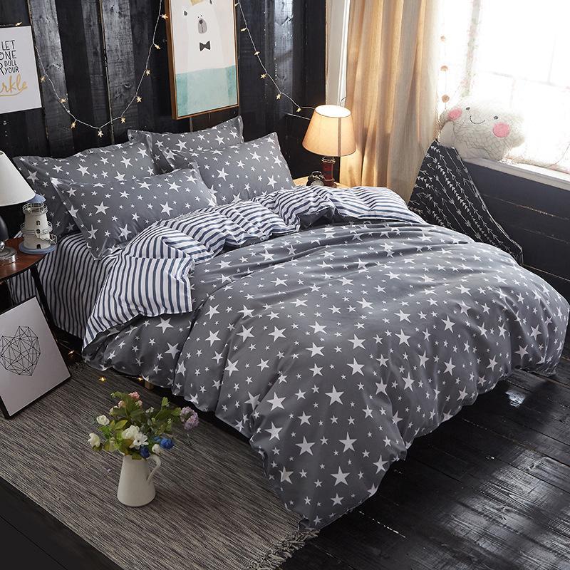 Großhandel Heimtextilien Grau Bettwäsche Stern Bettbezug Set