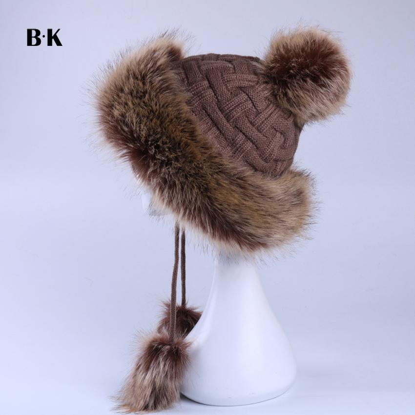 b1088450e90 Faux Fox Fur Ushanka Russain Cossack Fluffy Pompom Bomber Hats Earflap  Female Winter Fleece Snow Ski Caps Trapper Aviator Cap D19011503 Wholesale  Hats Fur ...
