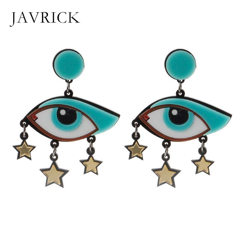 Women Acrylic Big Cartoon Evil Eyes Star Dangle Drop Earrings Fashion Jewelry Dangle Earring Jewelry Women Ear Gift
