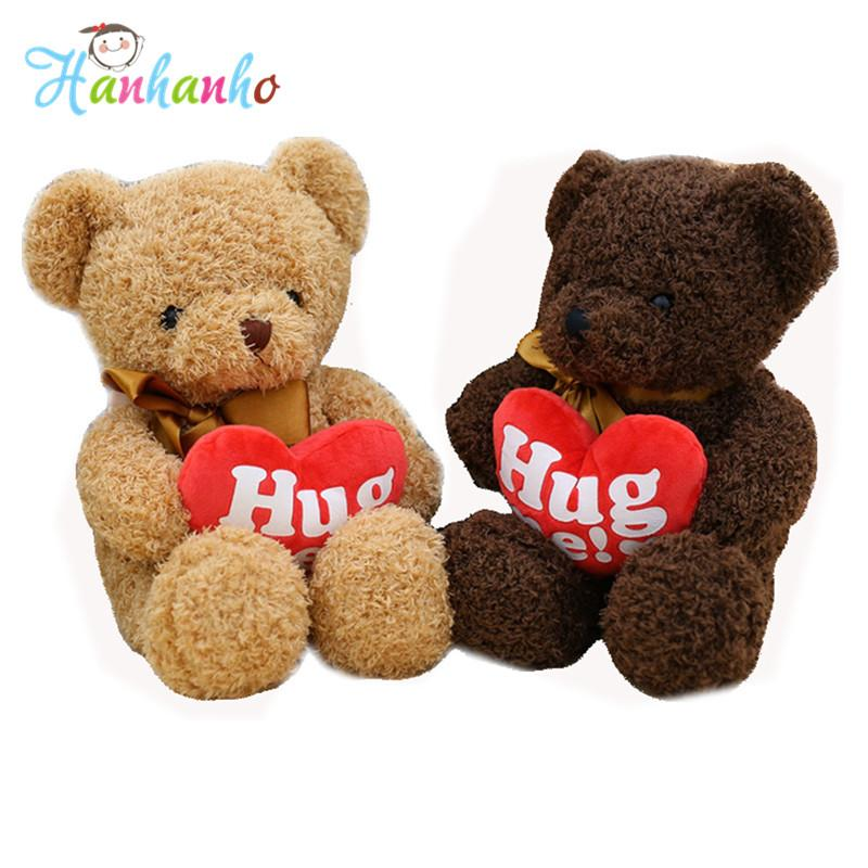 Cute Plush Teddy Bear with Red Heart Valentine's Gift for Girl Children Birthday gift Toys Stuffed Animal 38cm