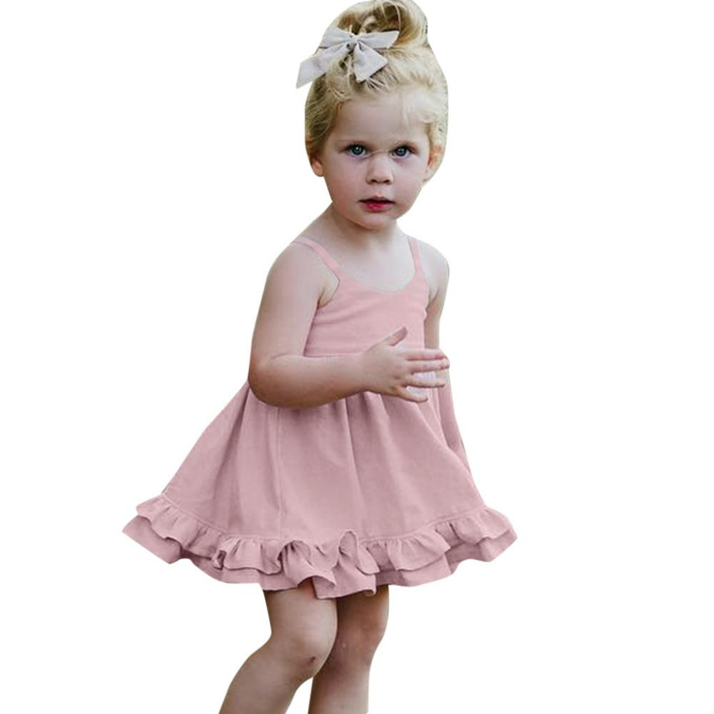 c631913669ba9 Acheter Petite Fille Cérémonies Robe Coton De Noce Robe Sans Manches  Solides Volants Robes Dos Nu Pour Filles Vêtements K0308 De  37.39 Du  Ouronlinelife ...