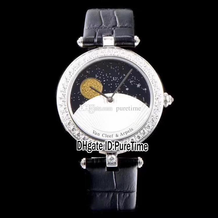 5cbe1254771f Compre La Mejor Edición Caja De Acero VCARN25800 Diamante Plateado Bezel Fase  Lunar Esfera Blanca Reloj De Cuarzo Suizo Para Mujer Relojes Para Mujer  Cuero ...