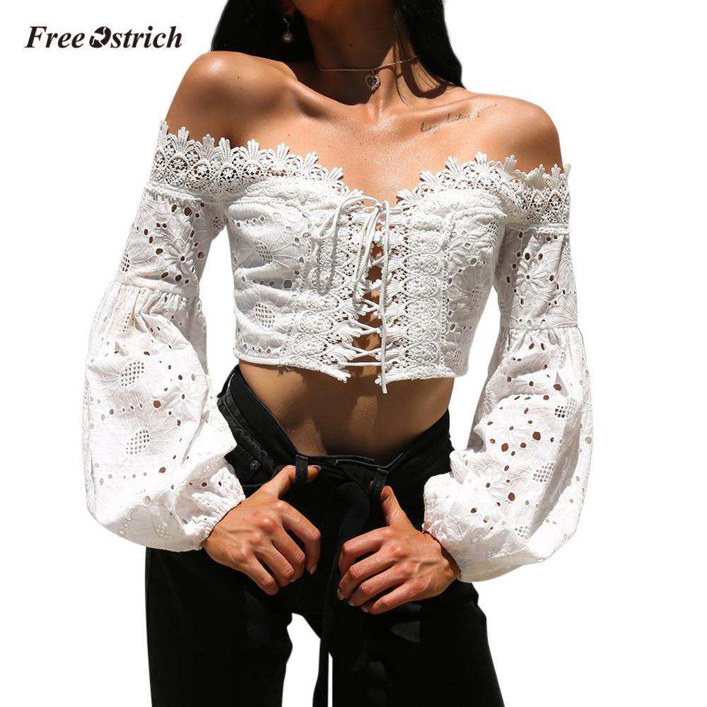 2ece7d38f325d7 Free Ostrich Clothes Women Off Shoulder Long Sleeve Hollow Lace Loose  Blousee Tops T Shirt Sexy T Shirt Women Cotton White Hot Geek T Shirts Buy  T Shirts ...