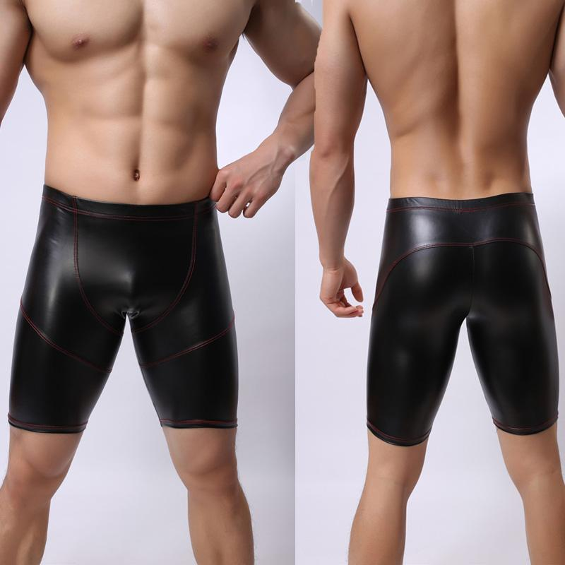 Sexy Men Plus Size Wild PVC Faux Leather Panties Shorts Boxer Wetlook Clubwear Jockstrap Fetish Gay Wear Erotic lingerie FX21
