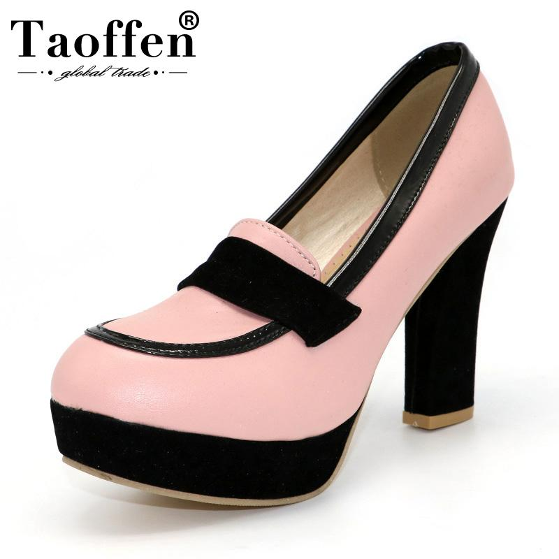 40cd65de8946 TAOFFEN Ladies High Heel Shoes Women Sexy Dress Footwear Fashion Lady Female  Brand Pumps P13025 Hot Sale EUR Size 34 47 Cheap Trainers Blue Shoes From  Koday ...