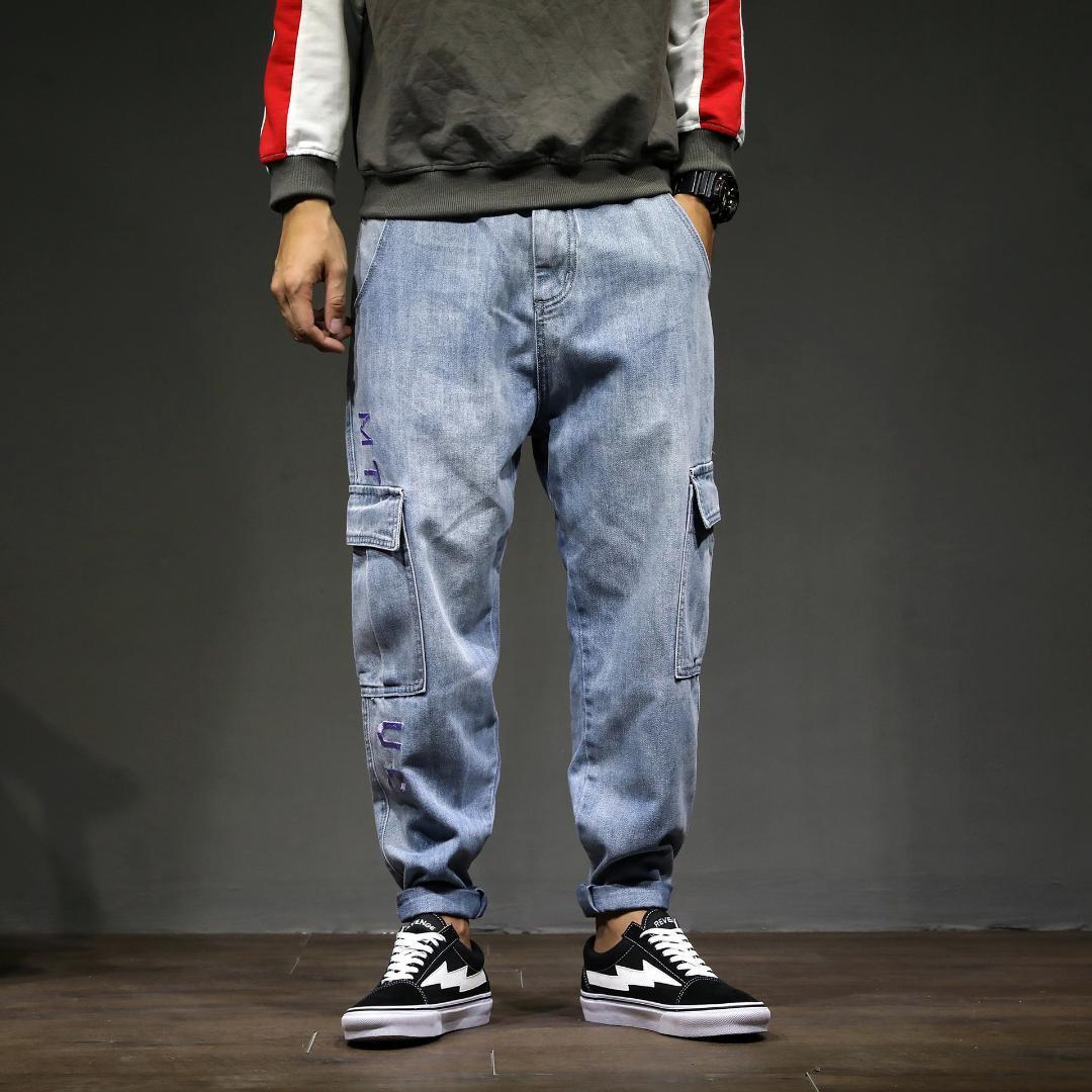 Japonais Éclair Jeans Fermeture Bleu Homme Pochettes Lâche Jean Streetwear Pantalon Denim Léger Szie À Sarouel Plus l1TKcFJ
