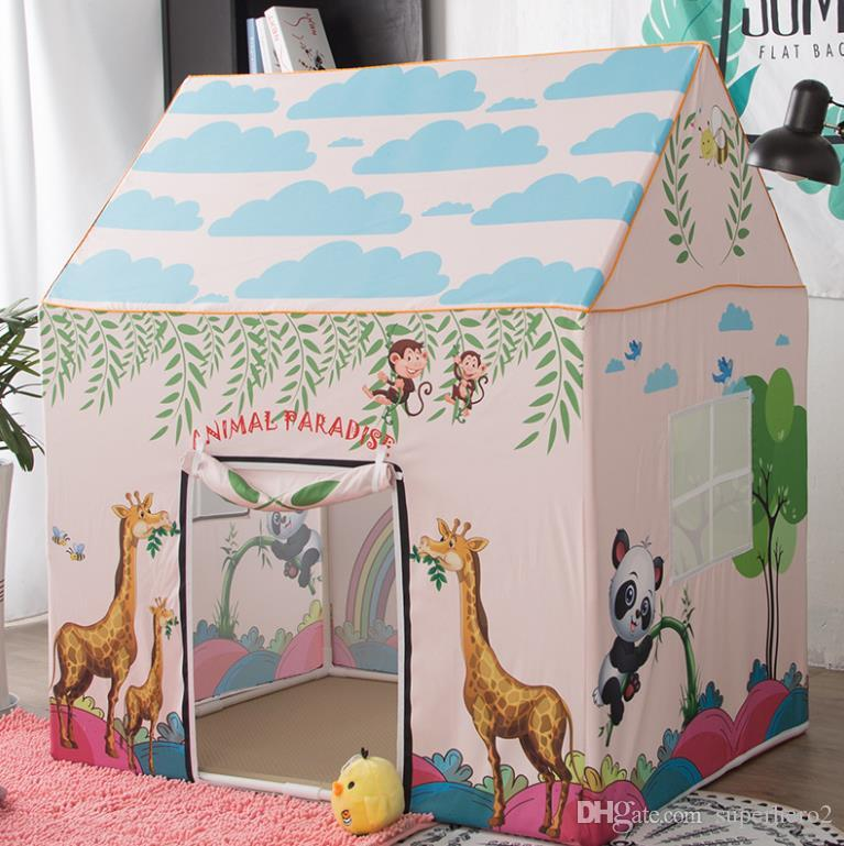 Playhouse for Kids Cartoon Forset Animail Themed Tent Castle Dome Tent Indoor Outdoor Play Toys Tents For Girls Boys Infant House shape