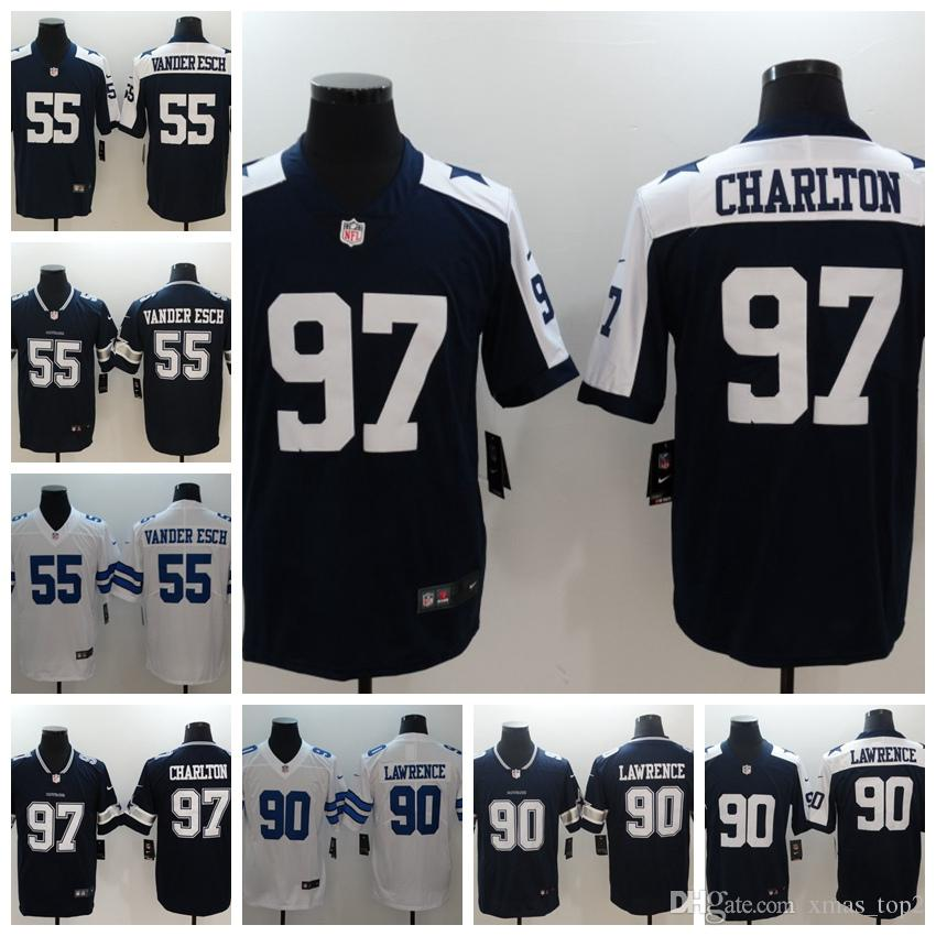 check out d6218 12886 2019 Mens Dallas Cowboys Football Jersey 55 Leighton Vander Esch 90  DeMarcus Lawrence 97 Taco Charlton Football Jersey Stitched Embroidery