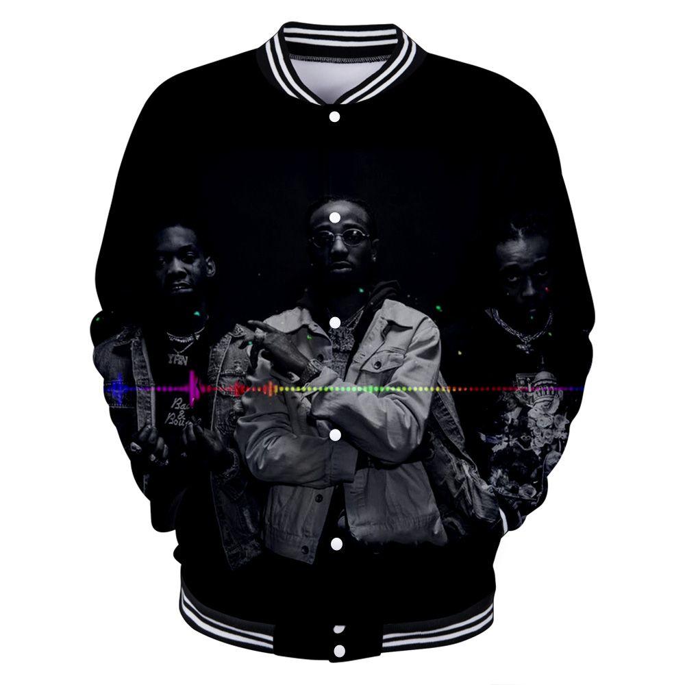2019 neue Migos Männer Baseball Sweatshirt Langarm Stehkragen Jacke Männer Frauen 3D Print Sport Baseball Jacke Streetwear