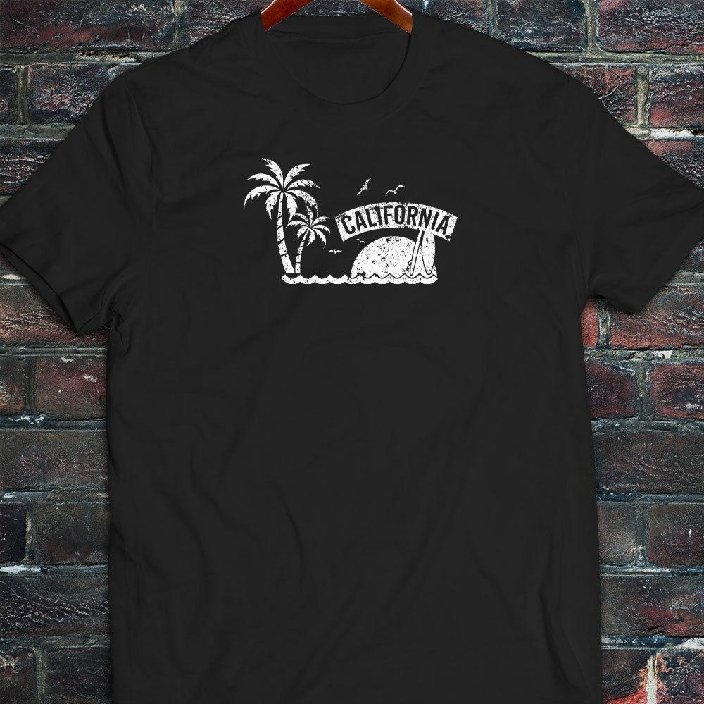 2019 Hot sale Summer Style SURFS BEACH SUNSET PALM TREES VACATION Mens Black T-Shirt Tee Shirt