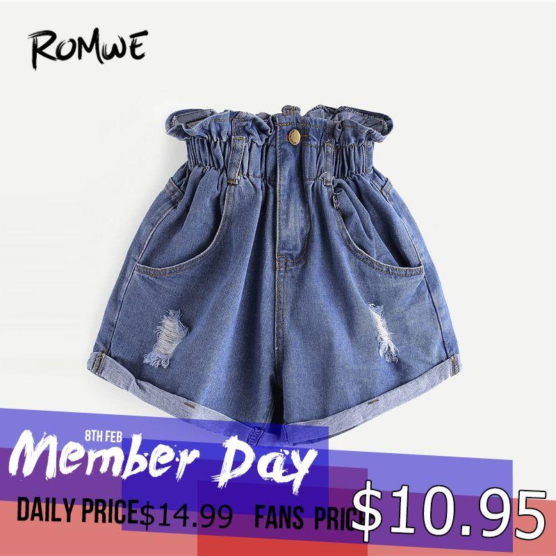 taglia 40 eb188 521df Pantaloncini di jeans strappati con elastico in vita 2019 Pantaloncini di  streetwear da donna di moda blu per le donne di tendenza Posh a vita alta
